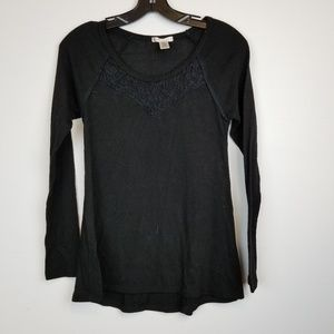 Bozzolo lace insert long sleeve black top